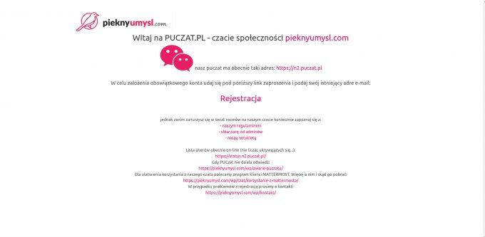 wygląd strony informacyjnej czata puczat.pl